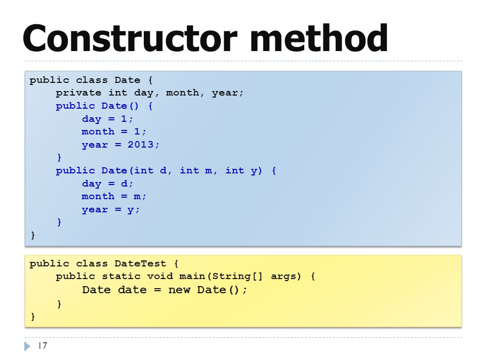 Constructor method public class Date { private int day, month, year;