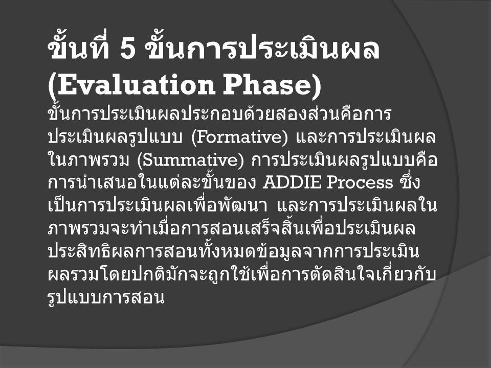 ขั้นที่ 5 ขั้นการประเมินผล (Evaluation Phase)