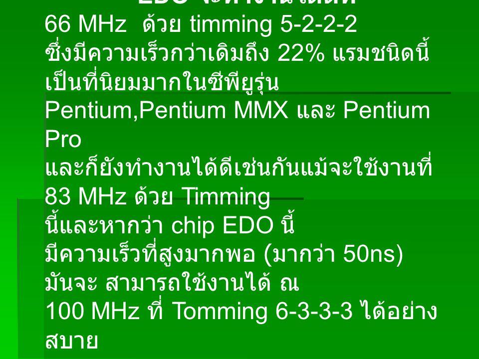 EDO จะทำงานได้ดีที่ 66 MHz ด้วย timming 5-2-2-2.