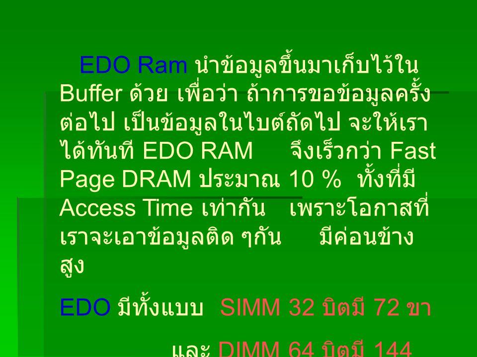 EDO Ram นำข้อมูลขึ้นมาเก็บไว้ใน Buffer ด้วย เพื่อว่า ถ้าการขอข้อมูลครั้งต่อไป เป็นข้อมูลในไบต์ถัดไป จะให้เราได้ทันที EDO RAM จึงเร็วกว่า Fast Page DRAM ประมาณ 10 % ทั้งที่มี Access Time เท่ากัน เพราะโอกาสที่เราจะเอาข้อมูลติด ๆกัน มีค่อนข้างสูง