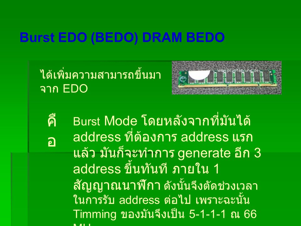 Burst EDO (BEDO) DRAM BEDO