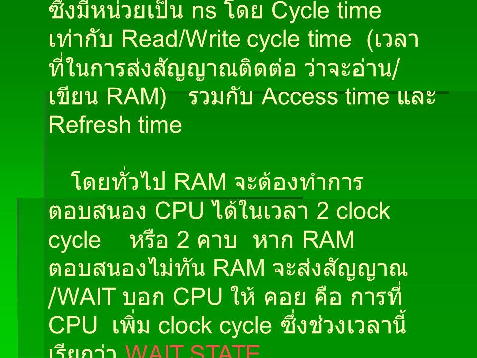 ซึ่งมีหน่วยเป็น ns โดย Cycle time เท่ากับ Read/Write cycle time (เวลาที่ในการส่งสัญญาณติดต่อ ว่าจะอ่าน/เขียน RAM) รวมกับ Access time และ Refresh time