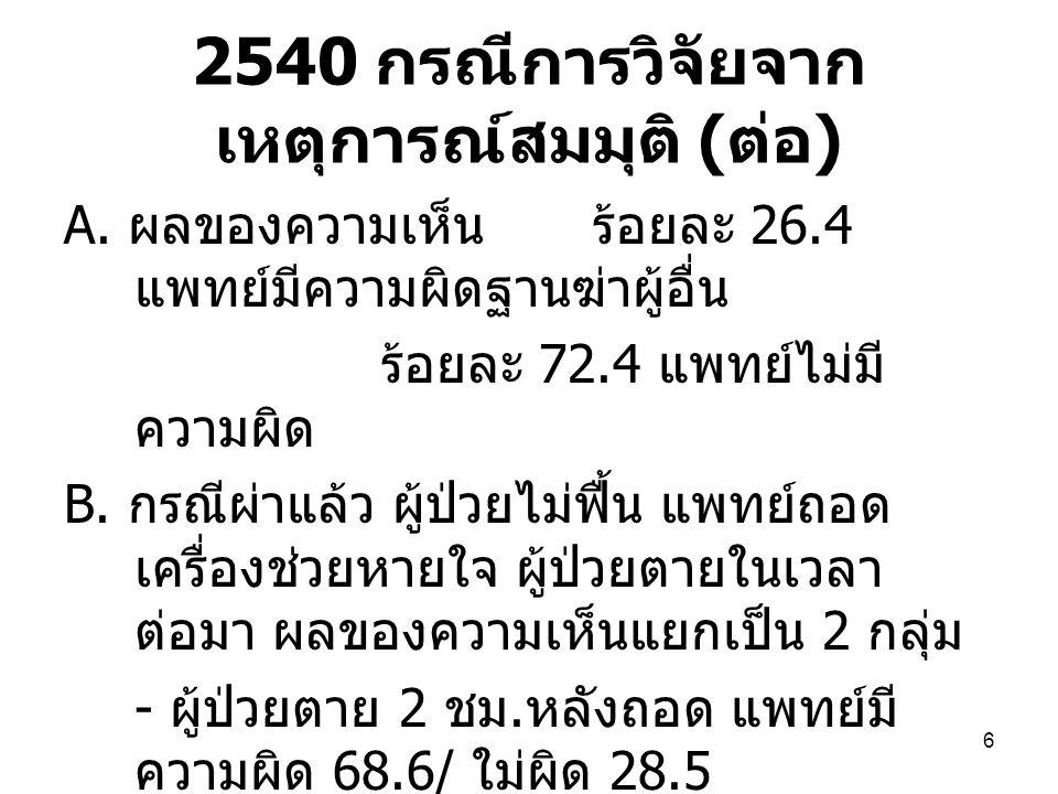 2540 กรณีการวิจัยจากเหตุการณ์สมมุติ (ต่อ)