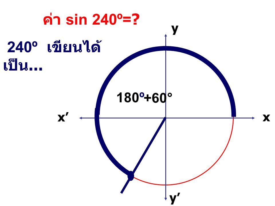 ค่า sin 240º= x x' y' y 240º เขียนได้เป็น... 180º +60°