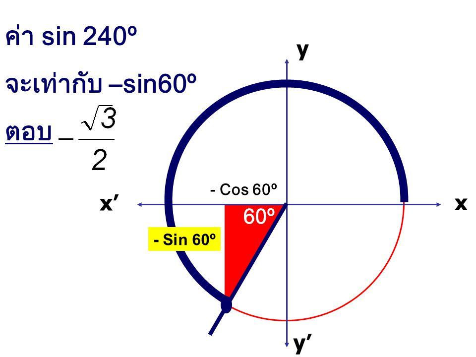 ค่า sin 240º จะเท่ากับ –sin60º ตอบ x x' y' y - Cos 60º 60º - Sin 60º