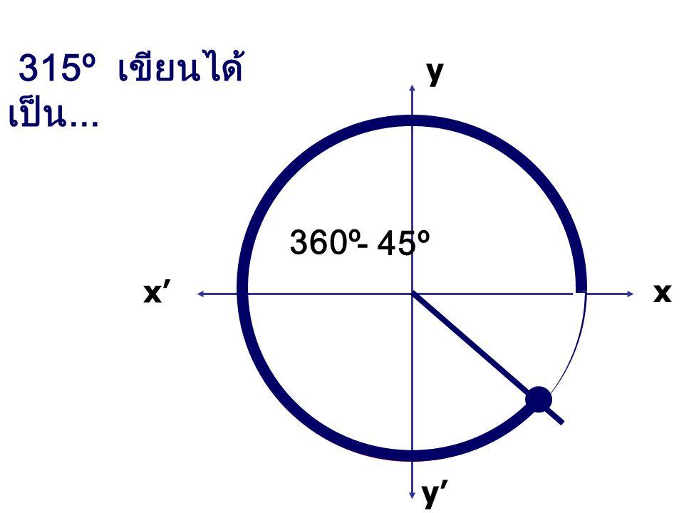 315º เขียนได้เป็น... x x' y' y 360º - 45º