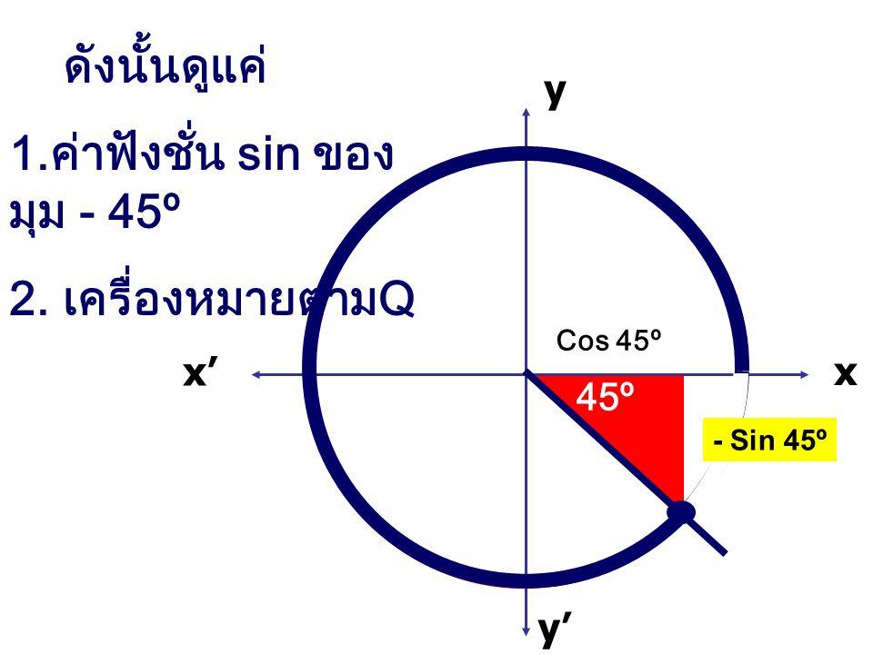 1.ค่าฟังชั่น sin ของ มุม - 45º