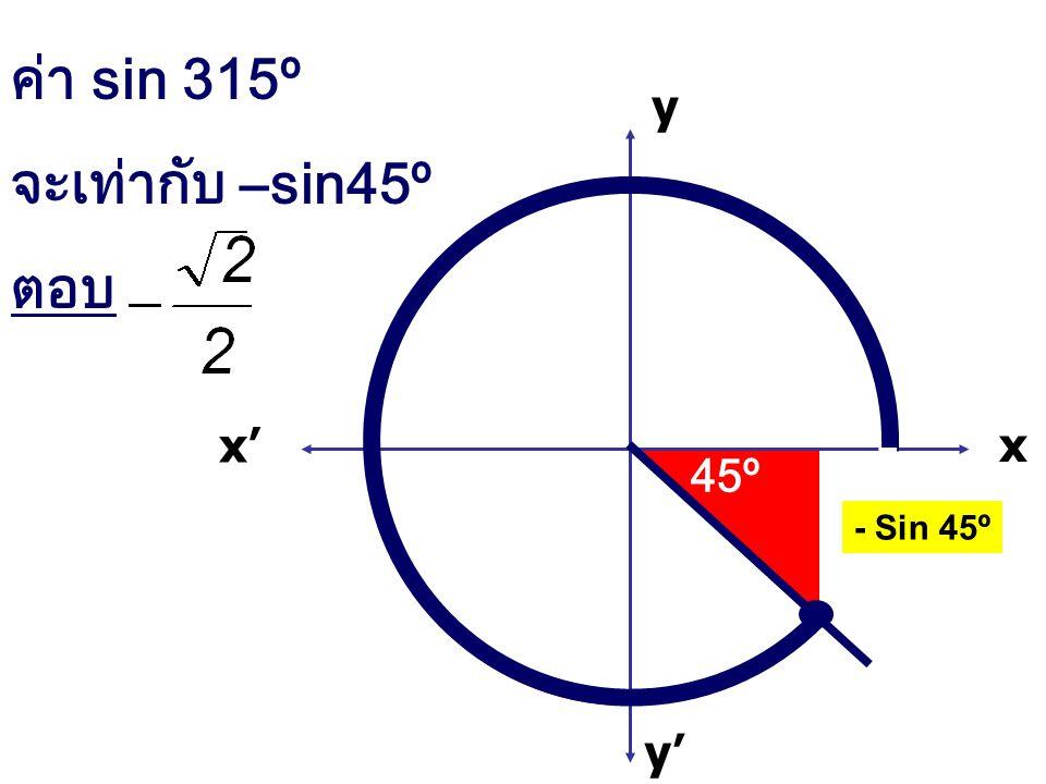 ค่า sin 315º จะเท่ากับ –sin45º ตอบ x x' y' y 45º - Sin 45º