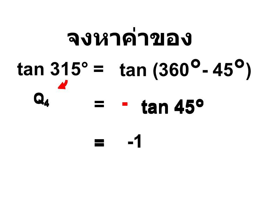 จงหาค่าของ tan (360°- 45°) tan 315° = - - - = - tan 45° tan 45°