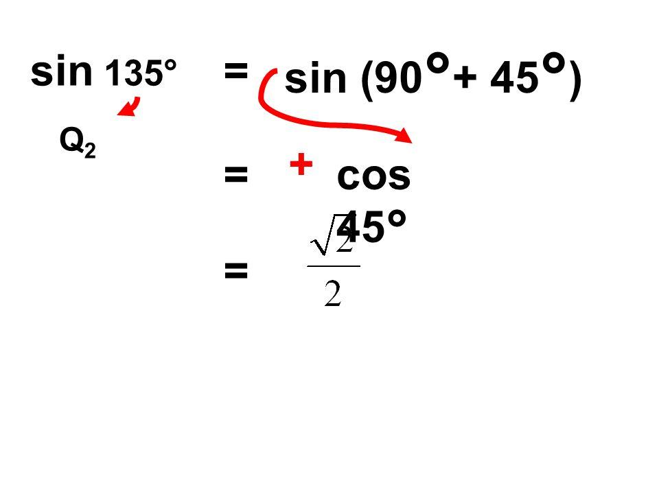 sin (90°+ 45°) sin 135° = Q2 + = cos 45° =