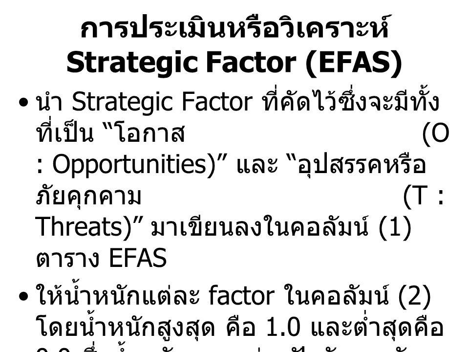 การประเมินหรือวิเคราะห์ Strategic Factor (EFAS)