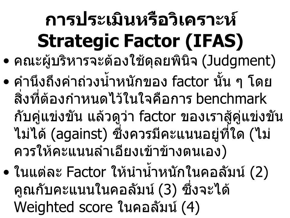 การประเมินหรือวิเคราะห์ Strategic Factor (IFAS)