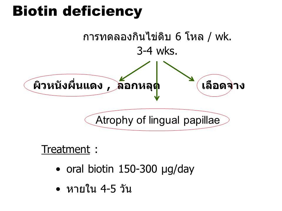 Biotin deficiency การทดลองกินไข่ดิบ 6 โหล / wk. 3-4 wks.