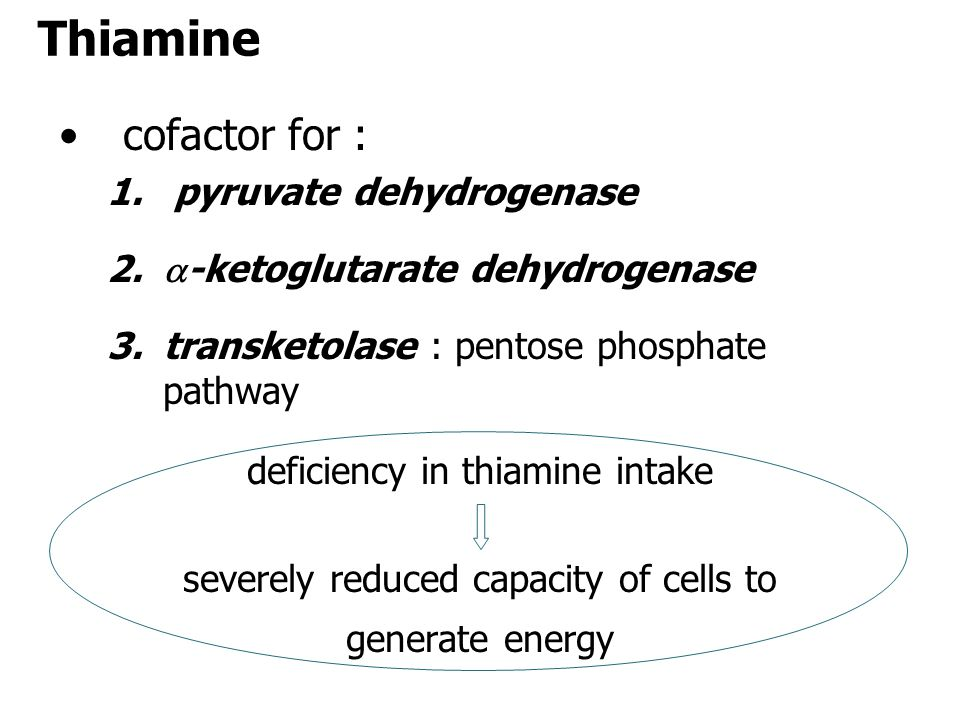 Thiamine cofactor for : pyruvate dehydrogenase