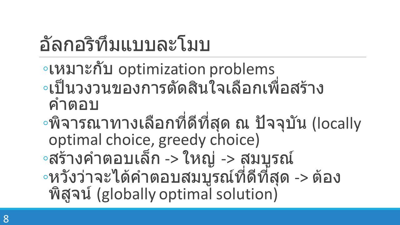 อัลกอริทึมแบบละโมบ เหมาะกับ optimization problems