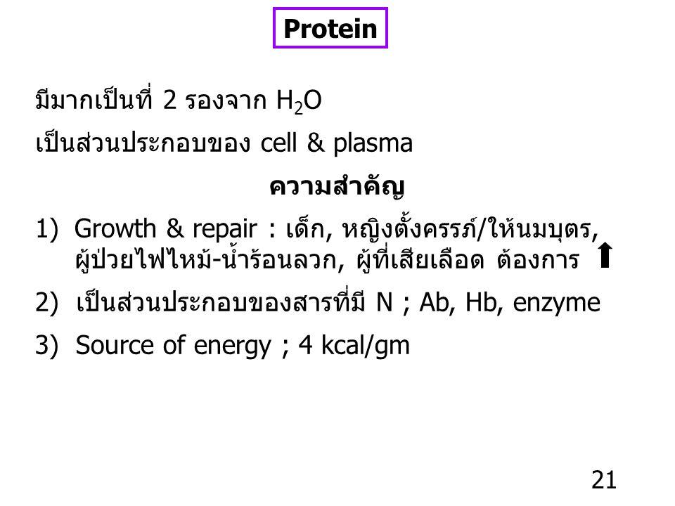 Protein มีมากเป็นที่ 2 รองจาก H2O. เป็นส่วนประกอบของ cell & plasma. ความสำคัญ.