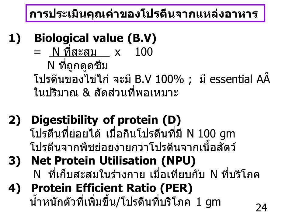 การประเมินคุณค่าของโปรตีนจากแหล่งอาหาร