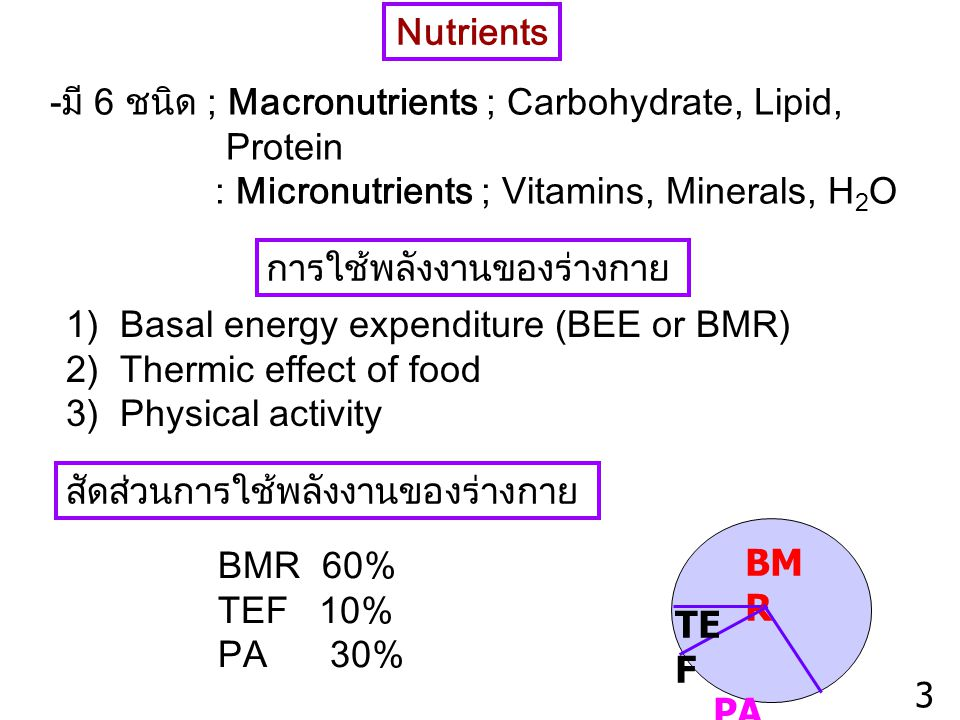Nutrients -มี 6 ชนิด ; Macronutrients ; Carbohydrate, Lipid, Protein. : Micronutrients ; Vitamins, Minerals, H2O.