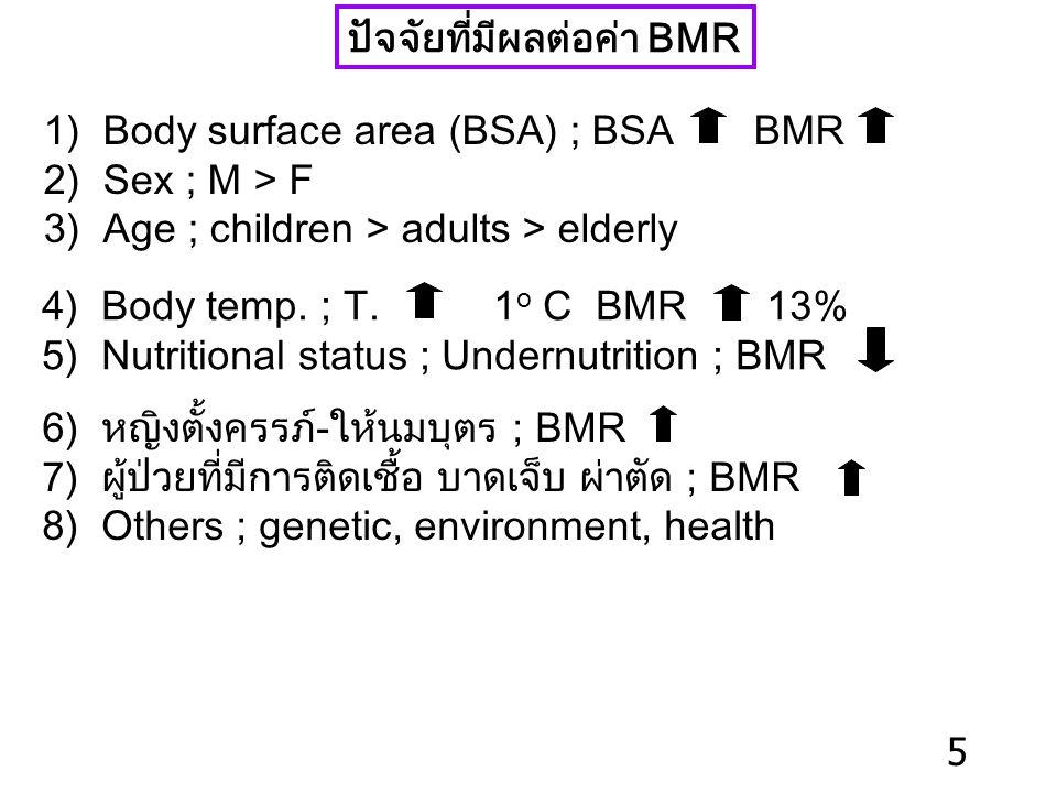 ปัจจัยที่มีผลต่อค่า BMR