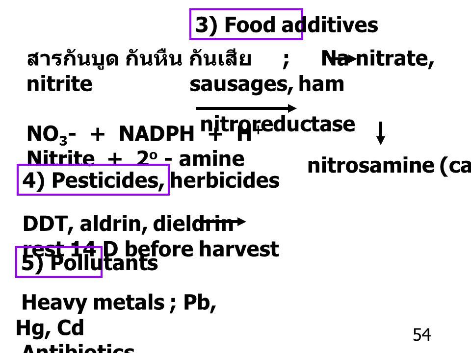 3) Food additives สารกันบูด กันหืน กันเสีย ; Na nitrate, nitrite sausages, ham.