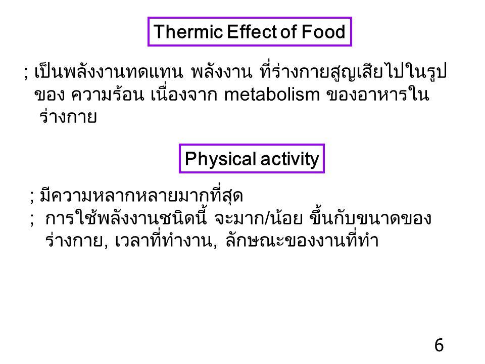 Thermic Effect of Food ; เป็นพลังงานทดแทน พลังงาน ที่ร่างกายสูญเสียไปในรูป. ของ ความร้อน เนื่องจาก metabolism ของอาหารใน.