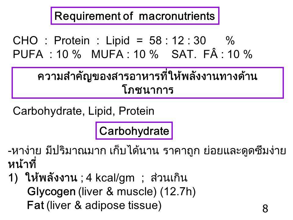 ความสำคัญของสารอาหารที่ให้พลังงานทางด้านโภชนาการ