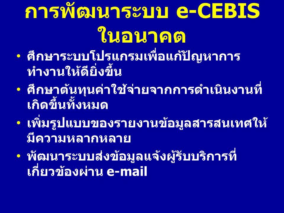 การพัฒนาระบบ e-CEBIS ในอนาคต