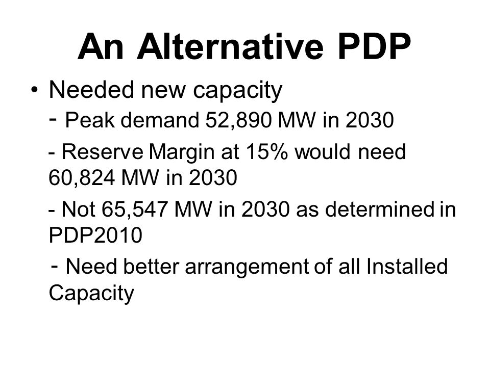 An Alternative PDP Needed new capacity - Peak demand 52,890 MW in 2030