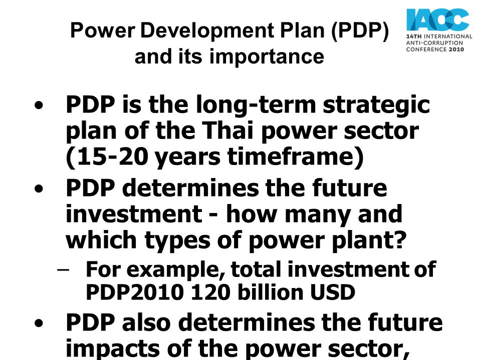 Power Development Plan (PDP) and its importance