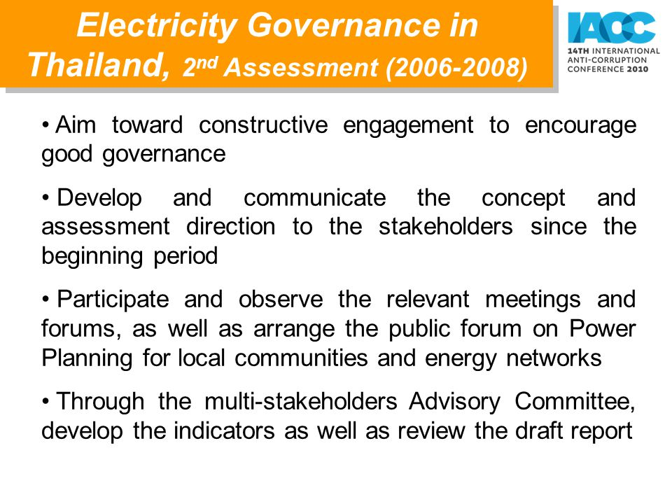 Electricity Governance in Thailand, 2nd Assessment (2006-2008)