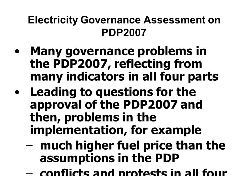 Electricity Governance Assessment on PDP2007