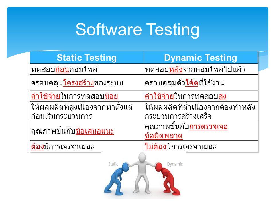 Software Testing Static Testing Dynamic Testing ทดสอบก่อนคอมไพล์