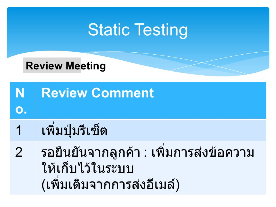 Static Testing No. Review Comment 1 เพิ่มปุ่มรีเซ็ต 2
