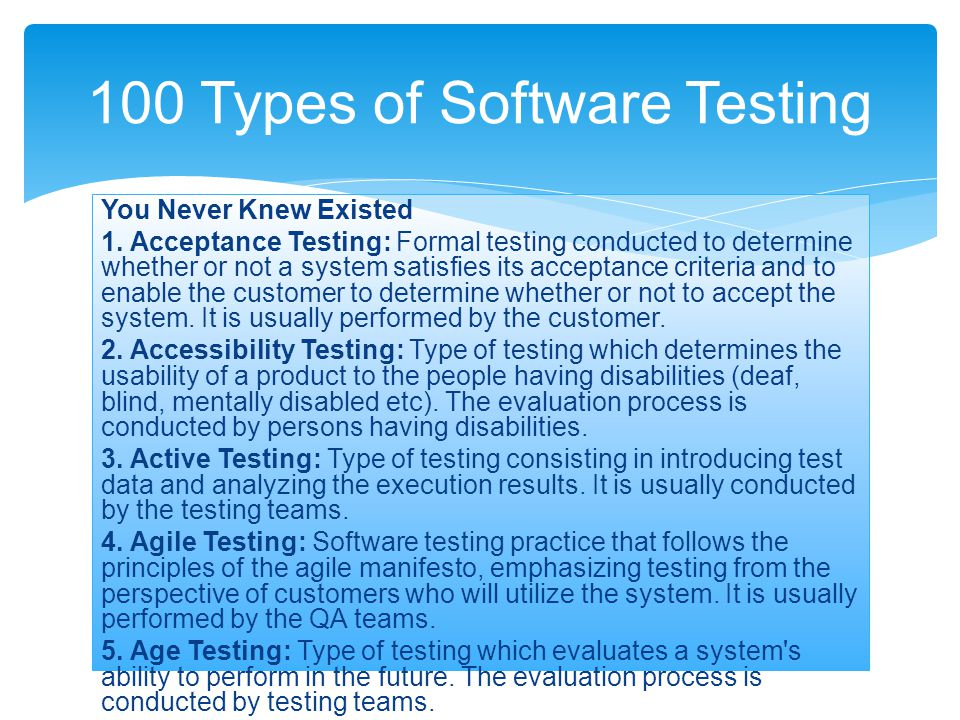 100 Types of Software Testing