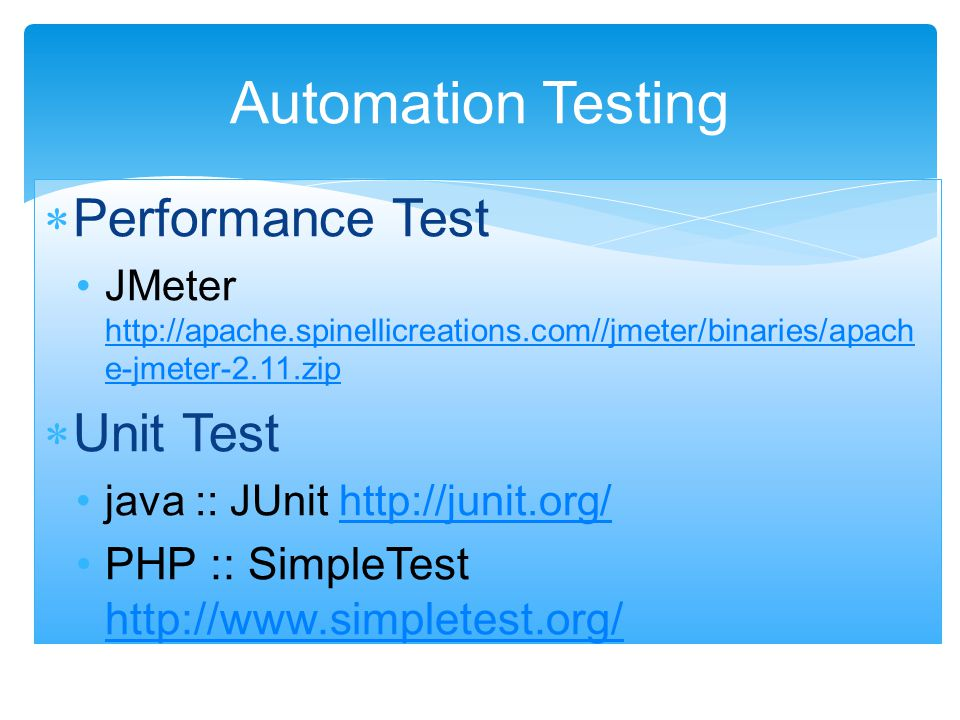 Automation Testing Performance Test Unit Test