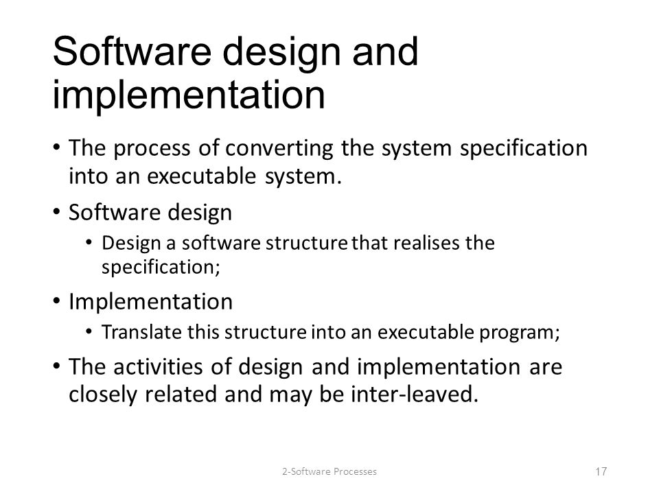 Software design and implementation