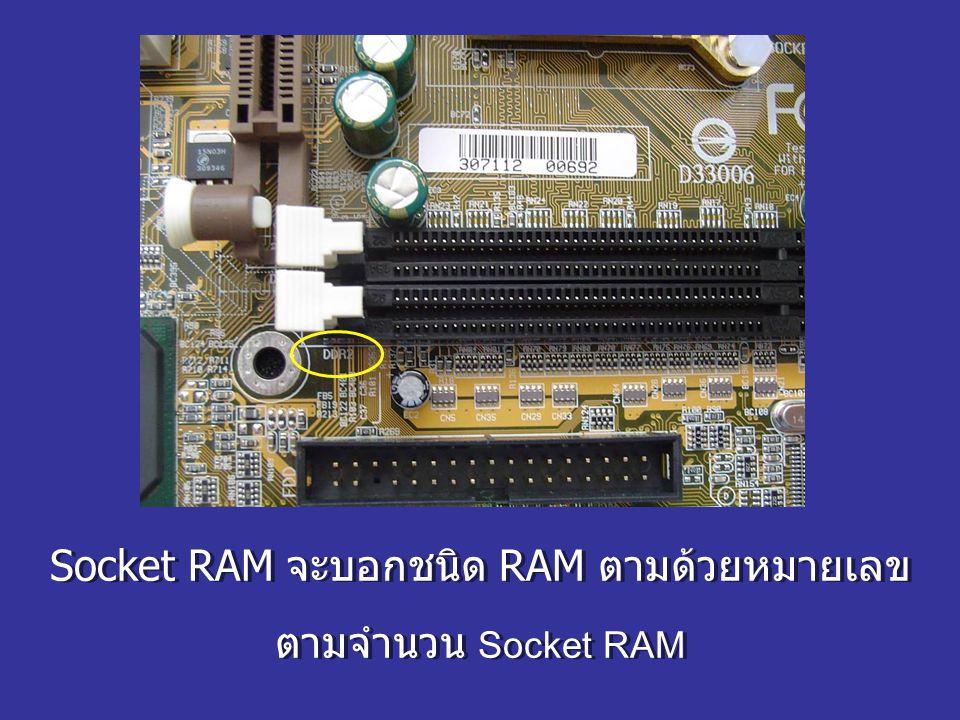 Socket RAM จะบอกชนิด RAM ตามด้วยหมายเลข