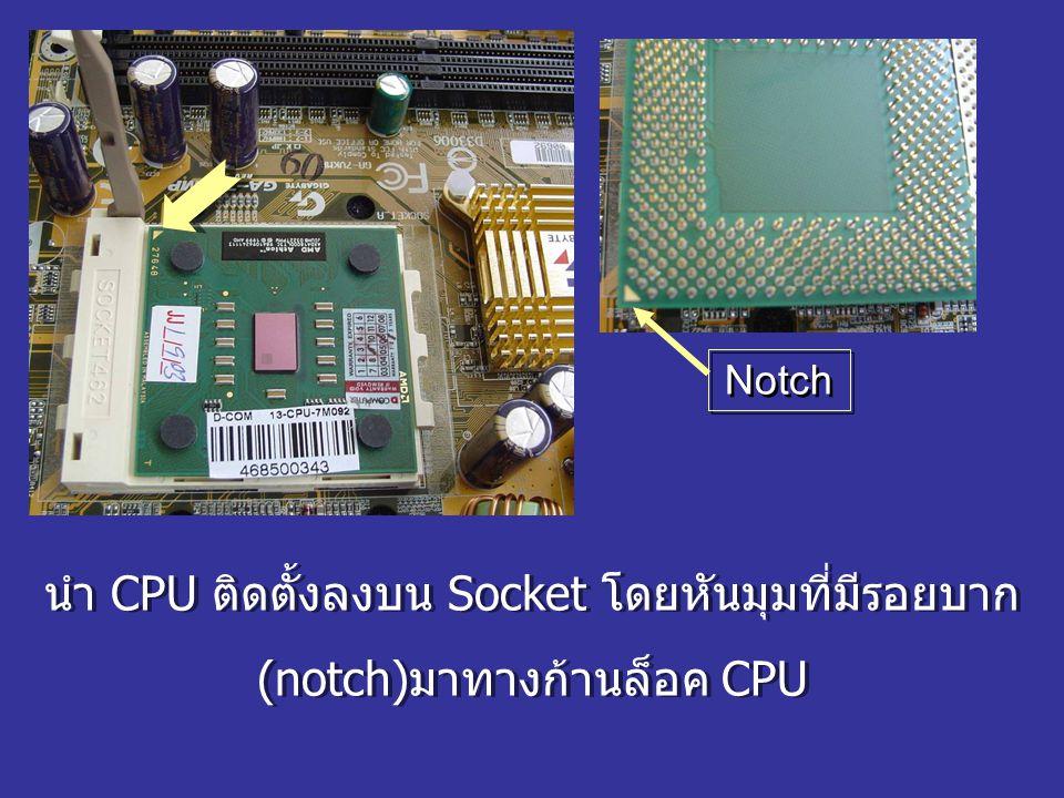 นำ CPU ติดตั้งลงบน Socket โดยหันมุมที่มีรอยบาก