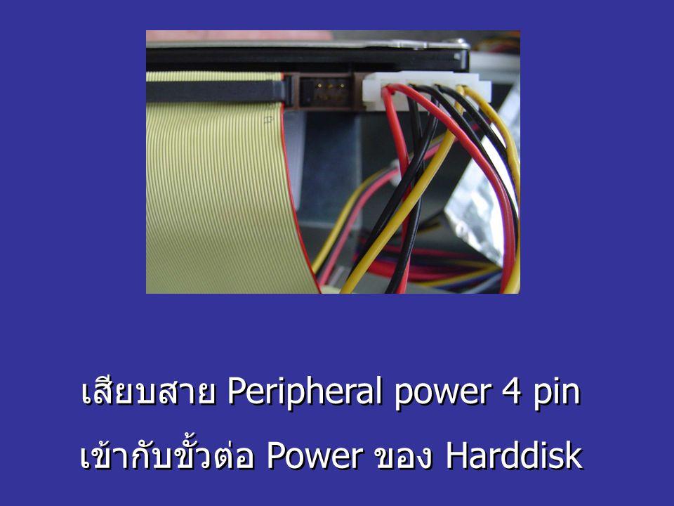 เสียบสาย Peripheral power 4 pin เข้ากับขั้วต่อ Power ของ Harddisk