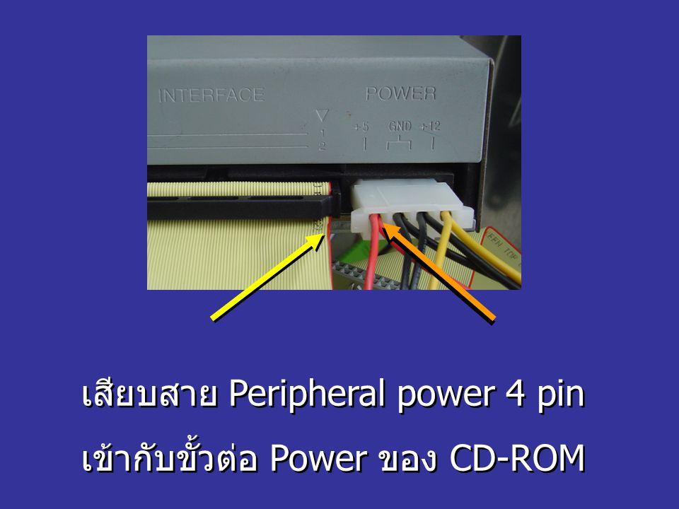 เสียบสาย Peripheral power 4 pin เข้ากับขั้วต่อ Power ของ CD-ROM