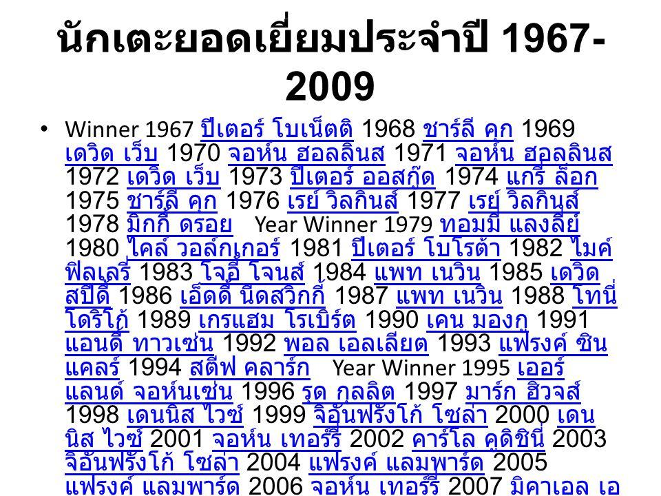 นักเตะยอดเยี่ยมประจำปี 1967-2009
