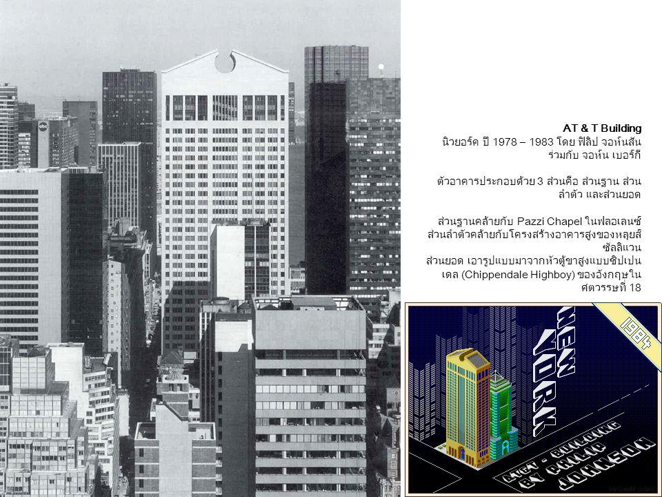 AT & T Building นิวยอร์ค ปี 1978 – 1983 โดย ฟิลิป จอห์นสัน ร่วมกับ จอห์น เบอร์กี ตัวอาคารประกอบด้วย 3 ส่วนคือ ส่วนฐาน ส่วนลำตัว และส่วนยอด.