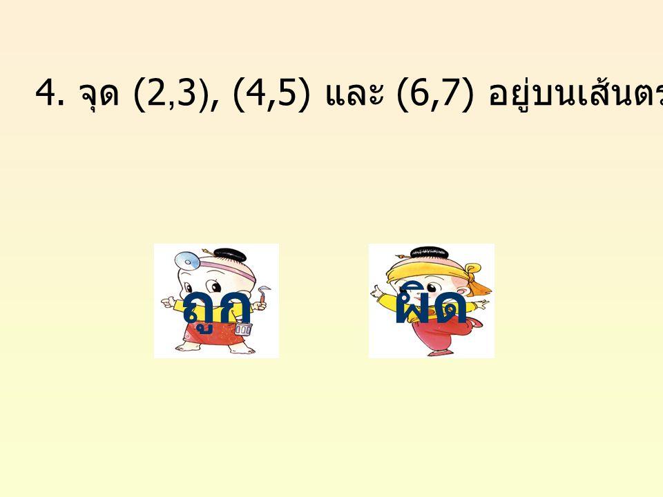 4. จุด (2,3), (4,5) และ (6,7) อยู่บนเส้นตรงเดียวกัน