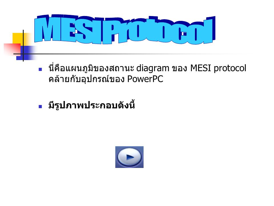 MESI Protocol นี่คือแผนภูมิของสถานะ diagram ของ MESI protocol คล้ายกับอุปกรณ์ของ PowerPC.