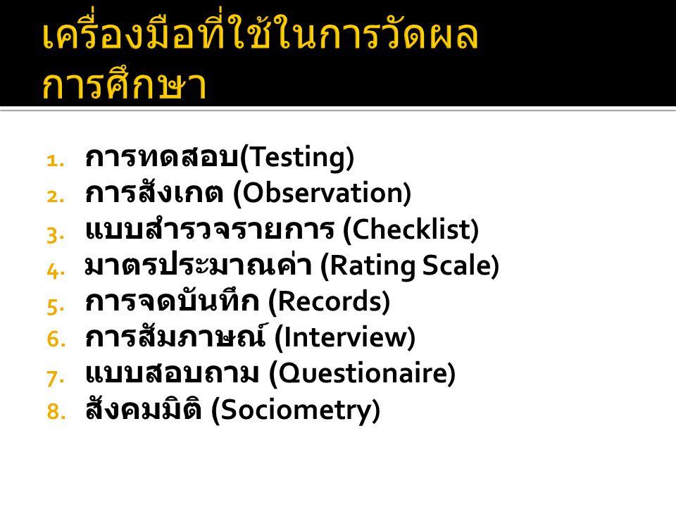 เครื่องมือที่ใช้ในการวัดผลการศึกษา