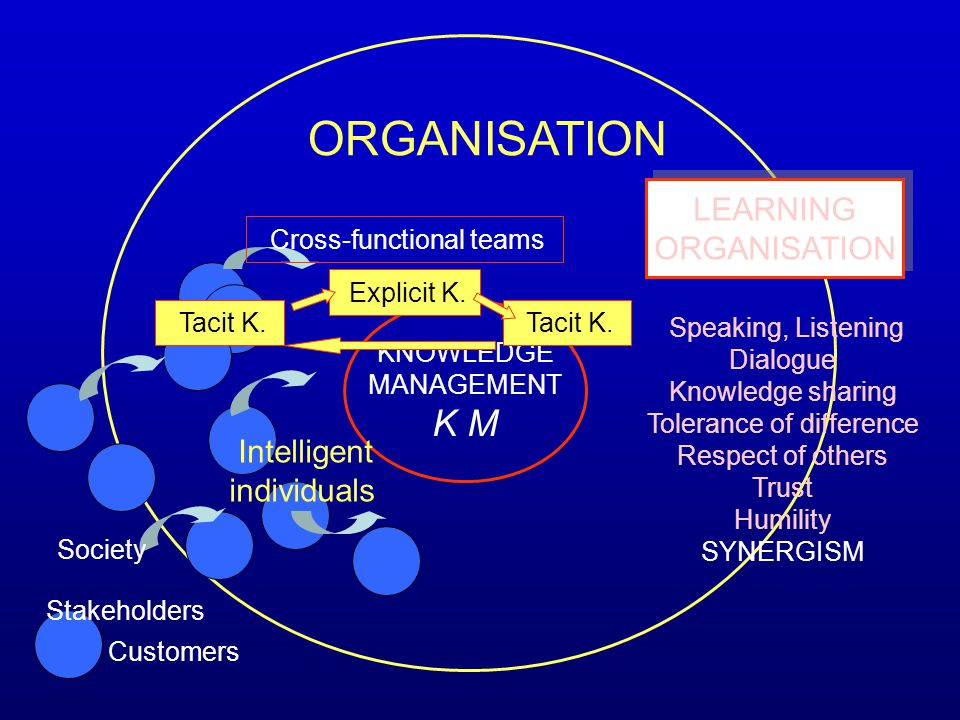 K M LEARNING ORGANISATION individuals KNOWLEDGE Dialogue MANAGEMENT