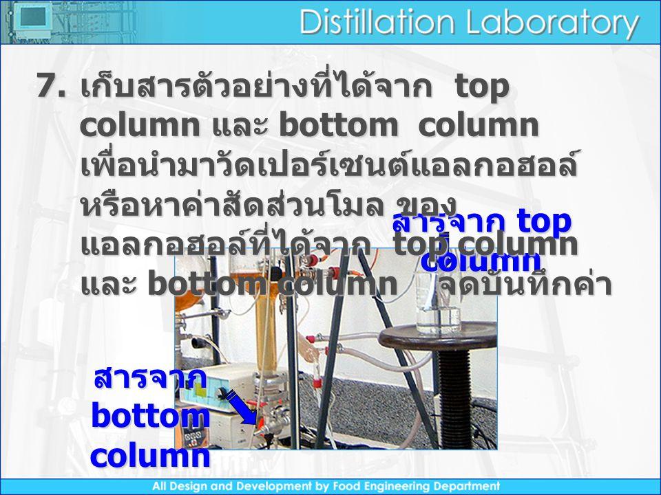 เก็บสารตัวอย่างที่ได้จาก top column และ bottom column เพื่อนำมาวัดเปอร์เซนต์แอลกอฮอล์ หรือหาค่าสัดส่วนโมล ของแอลกอฮอล์ที่ได้จาก top column และ bottom column จดบันทึกค่า