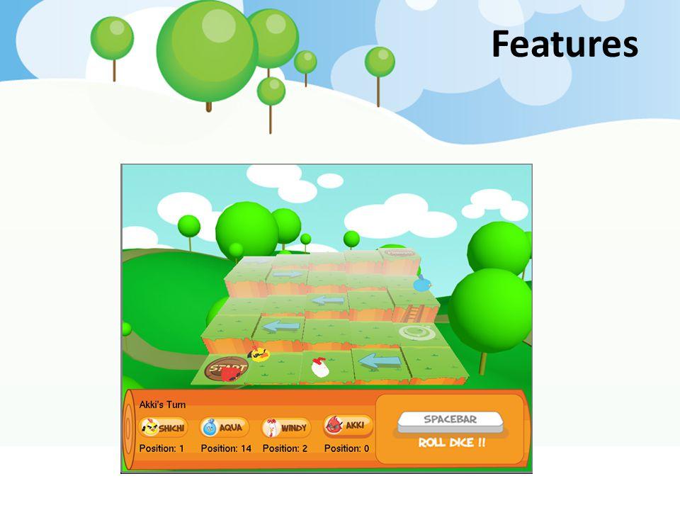 Features สร้างโดยเอา texture มาแปะ ให้เป็นดินกับ หญ้า แล้วเพิ่มความสูงของตารางแต่ละช่องไปเรื่อยๆ.