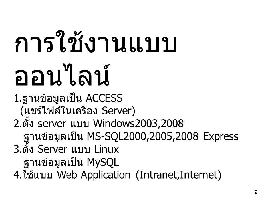 การใช้งานแบบออนไลน์ 1.ฐานข้อมูลเป็น ACCESS (แชร์ไฟล์ในเครื่อง Server)