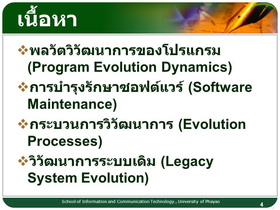 เนื้อหา พลวัตวิวัฒนาการของโปรแกรม (Program Evolution Dynamics)